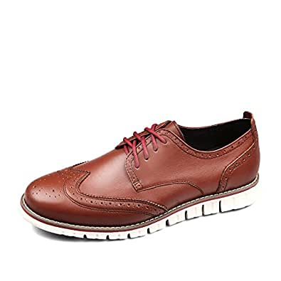 Laoks Men's Brogues Leather Shoes Tan