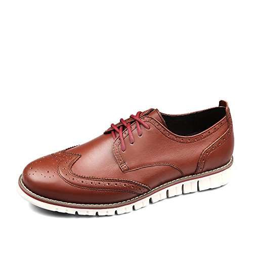 Mens Wingtip Shoes (Laoks Men's Brogues Oxford Wingtip Genuine Leather Dress Shoes Lace-up Brown)