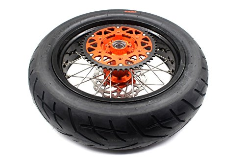KKE KTM SUPERMOTO WHEELS RIMS SET KIT & TIRE EXC SX XCW XCF 125 250 350 530 3.5/5.0 SUPERMOTO WHEEL SET WITH TIRE & DISC by KKE (Image #2)