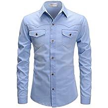 TheLees Slim Chest Two Pocket Vintage Washing Denim Long Sleeve Stretchy Shirts