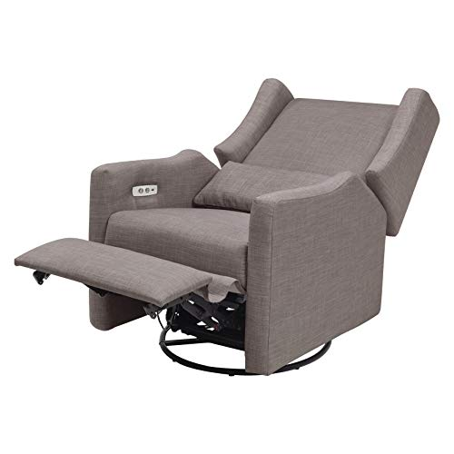 41wU7%2BWnu9L - Babyletto Kiwi Electronic Power Recliner And Swivel Glider With USB Port In Grey Tweed, Greenguard Gold Certified