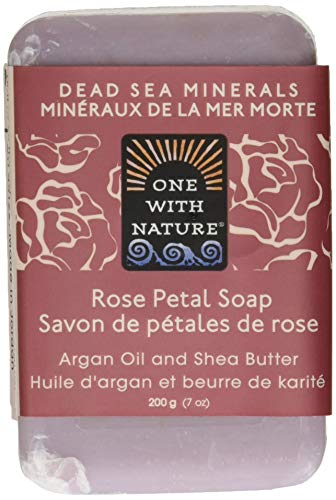 One With Nature Rose Petal Dead Sea Mineral Soap, 7 Ounce Bars Pack of 6