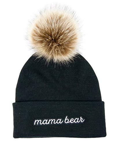 Fluffy pom pom Bride and Bridesmaid Wedding and Bachelorette Party Beanies (Black:Mama Bear, ()