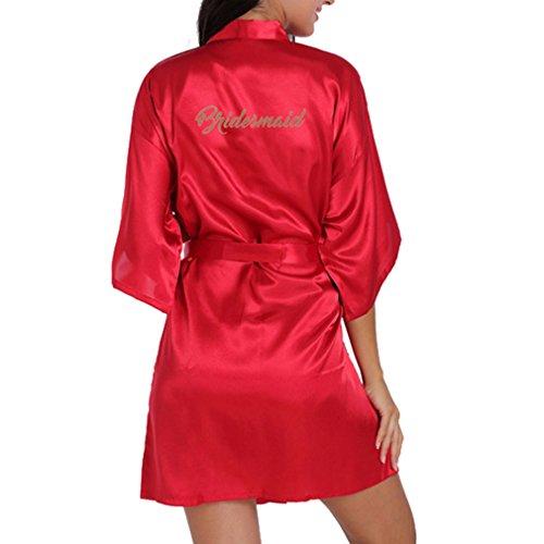 WEIMEITE Robes glitter Satin per donna d'onore con Kimono Marron da oro da abito sposa damigella YCnfBCxr