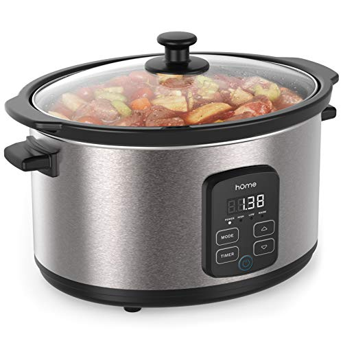 hOmeLabs 6 Quart Programmable Slow Cooker  Stainless Steel Exterior Removable NonStick Crock and 10Hour Timer with Auto ShutOff