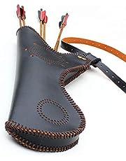 Instag Saco de Cintura Carcaj Tiro con Arco Bolso de Arco recurvado Tradicional y Flecha Carcaj Mochila de Cuero de Cadera Bolso con Estuche de Arco Largo