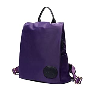 LOMOL Korean Style Fashion Casual College Lightweight Waterproof Nylon Backpack For Women&Girl(Purple)