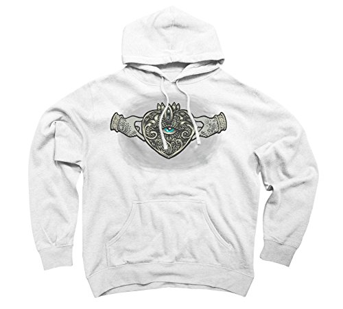 - Claddagh Eye Men's Large White Graphic Pullover Hoodie - Design By Humans
