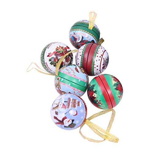 BESTOYARD 6 Pcs Christams Tinplate Round Ball Candy Storage Jar Candy Boxes Christmas Tree Decoration(Random Color and Style)
