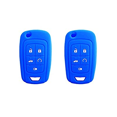 BAR Autotech Remote Key Silicone Rubber Keyless Entry Shell Case Fob and Key Skin Cover fit for Chevrolet Camaro Cruze Volt Equinox Spark Malibu Sonic (1 Pair) (Blue): Car Electronics