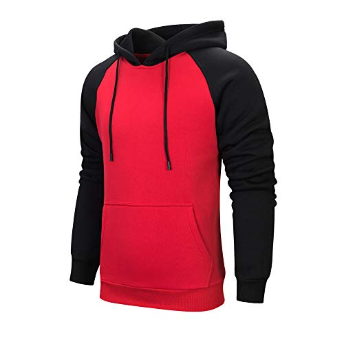 LBL Mens Contrast Color Hoodies Comfort Casual Pullover Sports Outwear Sweater Red M