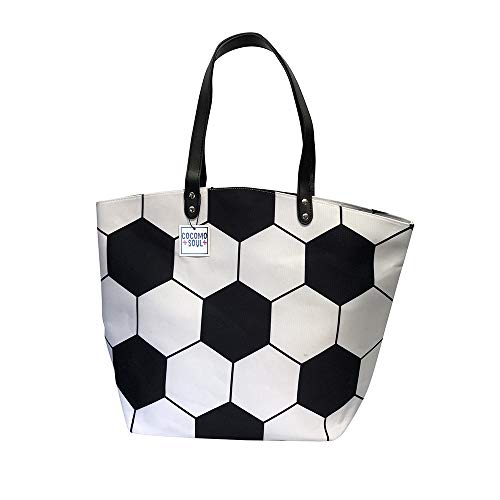 Soccer Canvas Tote Bag Handbag Large Oversize Sports 20 x 17 Inches ()
