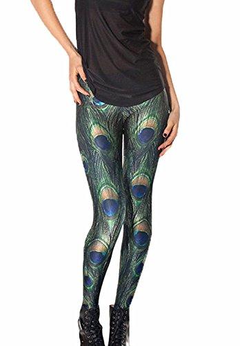 QWQHI Women's 3D Digital Print Camouflage Elastic Tights Leggings (Free Size, Green -