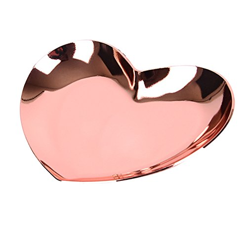 Heart Shaped Metal Storage Tray Jewelry Organizer Trays Ring Necklace Accessories Tray Jewelry Plate,Rose Gold - Gold Candy Dish