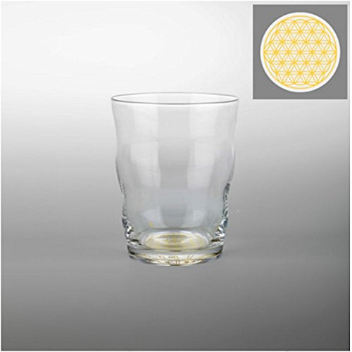 10 Ounce Hand Blown Drinking Glass with 24 Karat Gold Sacred Geometry Engraved Flower of Life