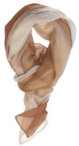 Womens Silk Blend - Just Libby-Women's Silk Blend Ombre Oblong Scarf Beiges