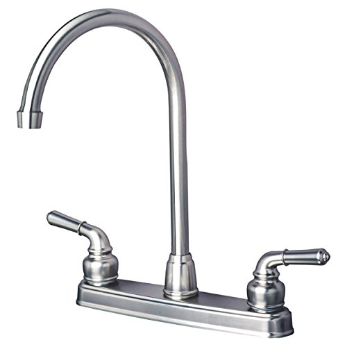 Builders Shoppe 1201SS RV Mobile Home Non-Metallic High Arc Swivel Kitchen Sink Faucet Brushed Nickel Finish ()