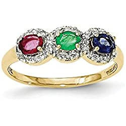14k Composite Ruby, Emerald, Sapphire & Diamond Three Stone Ring 0.14 Cttw 0.75 Gem Cttw
