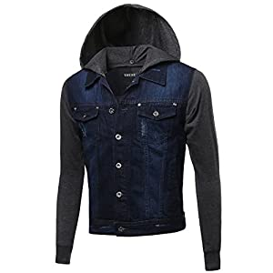 Men's Stone Washed Denim Long Sleeves Button Flap Closure Jacket
