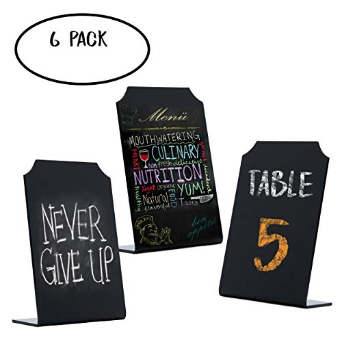 (Mini Chalkboard Sign Acrylic Tabletop Food Display - Small Blackboard with Stand for Cafe & Restaurant Parties Place Cards Buffet Menus and Events Weddings - 4 x 6 Boards (6)