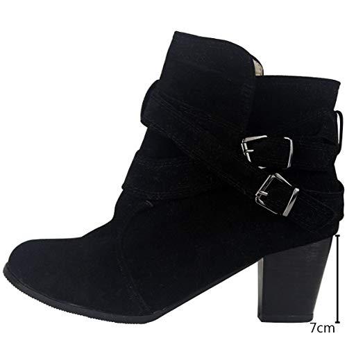Wealsex Stivaletti Eleganti Tacco Camoscio Stivali Heels Inverno Autunno High Nero Fibbia Donna Scarpe Caviglia Con r4WqZw1rxd