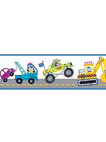 Chesapeake HAS01041B Riley Blue Honk Highway Wallpaper Border - Monster Truck Wall Border