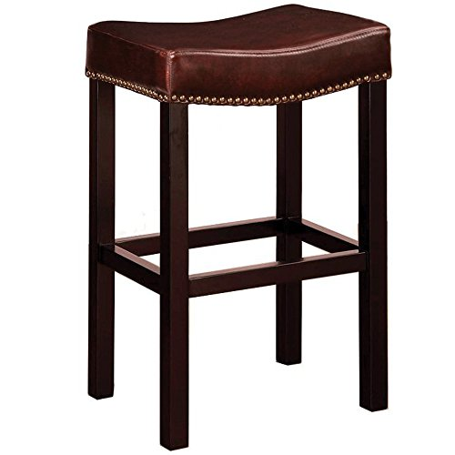 Fd Antique (Armen Living Leather Barstool With Antique Nail Trim Brown Leather)