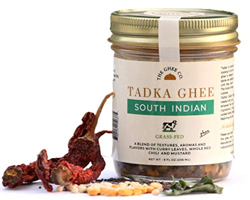 Tadka Ghee - South Indian flavored Ghee by The Ghee Co, Seasoned with real spices, Grass-Fed Ghee, 8 ounces, No Salt. No Preservatives. Lactose Free.