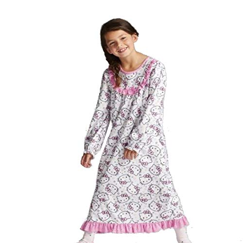 (Hello Kitty Girls' Flannel Granny Gown Nightgown, White, Sizes 4/5, 6/6X & 7/8 (US)