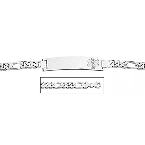 Sterling Silver Medical ID Bracelet W/ Figaro Chain - 7-1/2 Inch ()
