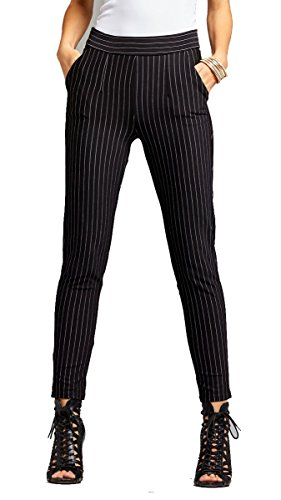 Pants Pin - Conceited Women's Dress Pants - Slim and Bootcut - 7 Colors - by (X-Large, Slim Pin Stripe Black)