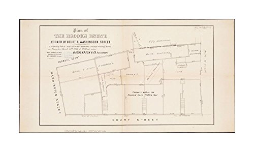 1865 Map Boston Plan of Brooks estate corner of Court & Washington Street: to be sold at public auction, at Merchants Exchange Reading Room, on Thursday, March 15th, 1866, at - Washington Street Map Boston