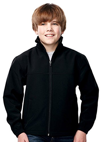 Price comparison product image Tri-Mountain Boys 3-layer Microfleece Bonded Shell Jacket, Black/Black Medium