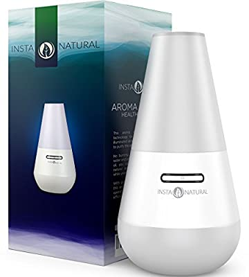 InstaNatural Essential Oil Diffuser for Aromatherapy - Ultrasonic Mist Humidifier and Ionizer for Any Living Space - With Soft Blue Colored LED Light & Waterless Automatic Shut-off - 100 ML