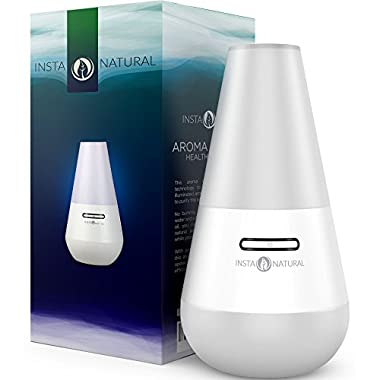 InstaNatural Essential Oil Diffuser for Aromatherapy - Best Ultrasonic Mist Humidifier and Ionizer for Any Living Space - With Soft Blue Colored LED Light & Waterless Automatic Shut-off - 100 ML