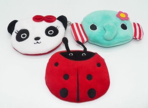 Panda Coin Set (3 pcs Cute Panda Elephant Ladybug Multi Purpose Change Coin Purse Pouch Set ~)