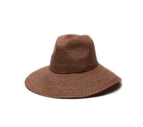 'ale by alessandra Women's Sancho Adjustable Toyo Hat with Leather Trim, Cocoa, One Size