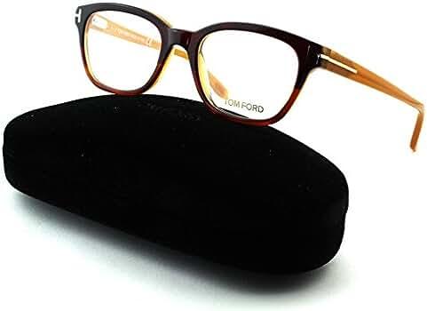 2ad802a289 Amazon.com  Tom Ford FT 5207 Women Geometric Eyeglasses (Drak Brown Frame  050