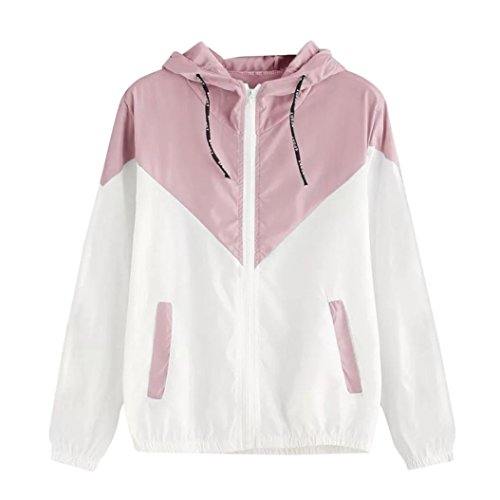 - FEITONG Women Long Sleeve Stitching Hit Color Thin Hooded Zipper Pockets Sport Coat(2XL,Pink)