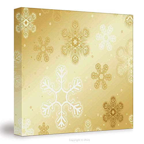 №12045 Canvas Art Wall Decor/ Christmas,Snowflakes Pattern On Gold Color Background Noel Holiday Yule Winter Themed Artsy Image,Gold / Wall Art Paintings On Canvas Stretched And Framed Ready To Hang F (Christmas Background Artsy)