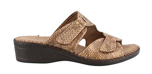 Taupe Snake (Easy Street Women's Joelle Slide Sandal, Light Taupe Snake, 9 M US)