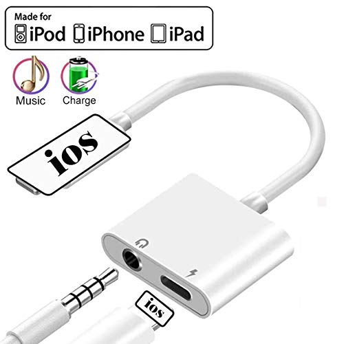 Headphone Adapter Jack Dongle Adapter to 3.5mm Converter 2 in 1 Car Charge Accessories for iPhone 11 Pro 8/8Plus/7/X/XS/XS MAX/XR/Earphone Splitter Adaptor Cable & Audio Connector for All iOS Systems