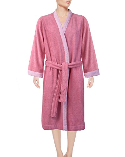 Armani International Women's Kimono Lounge Robe Set, Egyptian Cotton Terry Bathrobe Medium Peony-Misty Rose   Made in Europe by Armani International