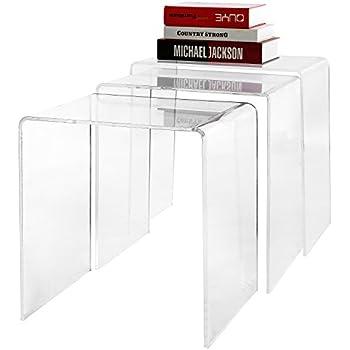 Modern Designer 3 Piece Set Premium Clear Acrylic Nesting Coffee / Side End Tables - MyGift
