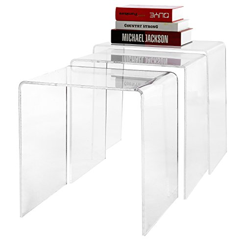 Modern Designer 3 Piece Set Premium Clear Acrylic Nesting Coffee / Side End Tables - (Clear Acrylic Nesting Table)