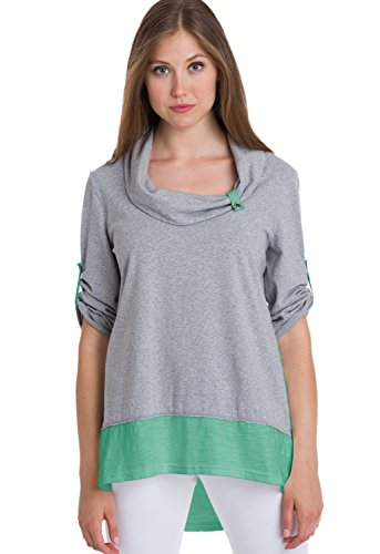 (Neon Buddha Women's Comfy Cotton Tunic Top Female Long Blouse 3/4 Sleeves, Cowl Neck and Contrast Hems,Refined Mint,X-Large)