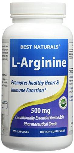 L-Arginine 500mg 250 capsules - formule de soutien santé cardiovasculaire - L Arginine renforce sa Circulation - durée de vie 100 % Satisfaction garantie de remboursement par Naturals meilleurs