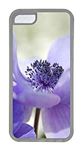 iPhone 5C Case, Customized Protective Soft TPU Clear Case for iphone 5C - Purple Flower Cover