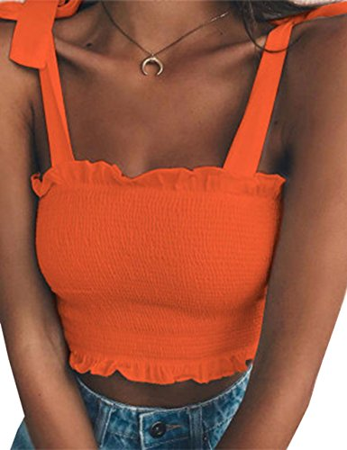 KAMISSY Women's Frill Smocked Crop Tank Top Tie Shoulder Strap Vest (Small, Orange)