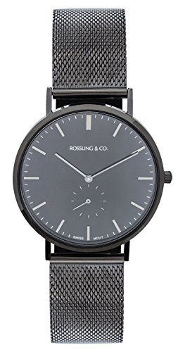 Rossling & Co. Classic 40mm Midnight Mesh Watch - Black